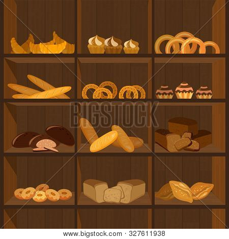 Shopping Stands With Bakery Products. Supermarket Shelves With Wheat, Rye And Whole Grain Bread. Pre