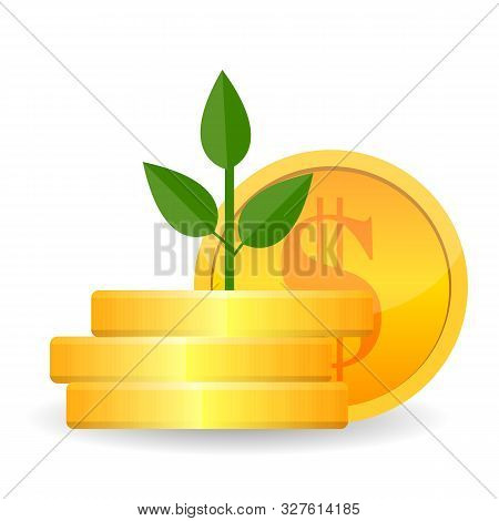 Growing Money Tree With Gold Coins On Branches Icon. Symbol Of Wealth And Business Success. Vector I