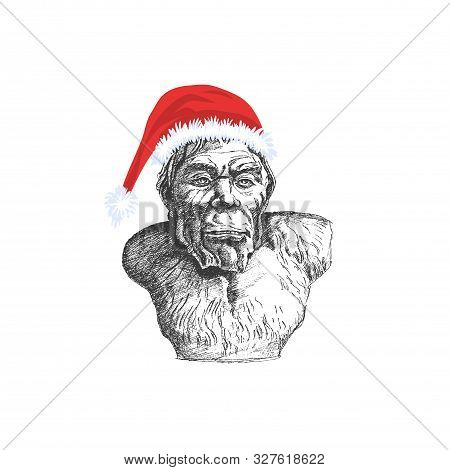 Snowman Or Yeti In Santa Claus Hat. The Evil Father Christmas - Vector