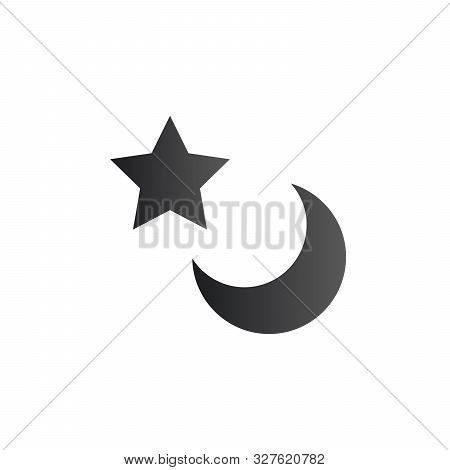 Moon And Star Icon Flat. Illustration Isolated Vector Sign Symbol. Stock Vector Illustration Isolate