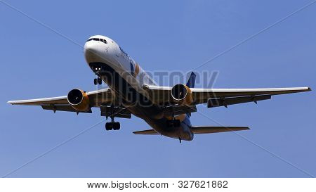 Borispol, Ukraine - September 8, 2019: Ur-azd Azur Air Ukraine Boeing 767-300 Aircraft On The Blue S