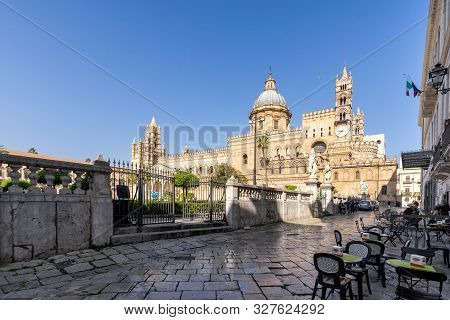 Palermo, Sicily - March 23, 2019:  The Front Right Street View Of The Palermo Cathedral Or Cattedral