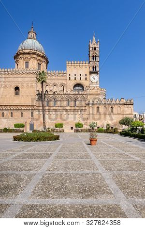 Palermo, Sicily - March 23, 2019:  The Front View Of The Palermo Cathedral Or Cattedrale Di Palermo