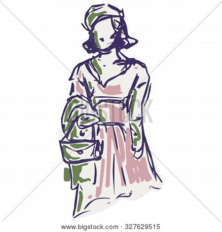 1950s Retro Woman With Handbag Illustration. Hand Drawn Loose Lineart Style Of Fifties Vintage Fashi