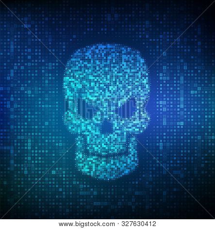 Hacked. Shape Of Skull Made With Binary Code. Digital Code On A Screen With A Skull Representing A C