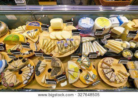 SHENZHEN, CHINA - CIRCA APRIL, 2019: cheese on display at Ole' Wine Cellar in Shenzhen.