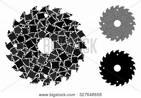 Circular saw blade composition of unequal pieces in variable sizes and color tinges, based on circular saw blade icon. Vector unequal items are combined into composition. poster