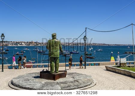 Cascais - August 14, 2019: King Carlos I Of Portugal Looking At His Beloved Bay Of Cascais, In Casca