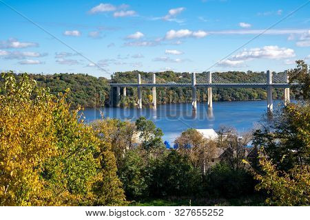 Overlook In Stillwater Minnesota In The Fall Looking Over The St. Croix Crossing, An Extradosed Brid