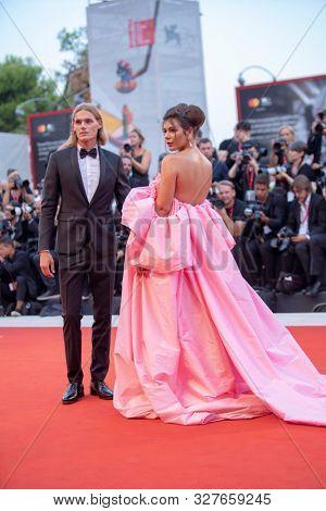 Nima Benati, Ton Heukels at the 76 Venice International Film Festival 2019. Joker red carpet. Venice (Italy), August 31st, 2019