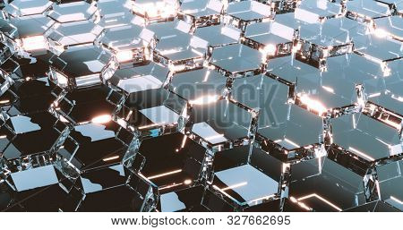 Abstract tech background composed of glass hexagons. 3D render