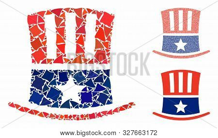 Uncle Sam Hat Mosaic Of Ragged Parts In Variable Sizes And Shades, Based On Uncle Sam Hat Icon. Vect