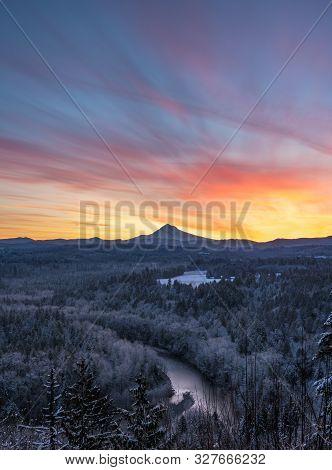 Frozen Forest Below Beautiful Morning Sky On Wintery Morning