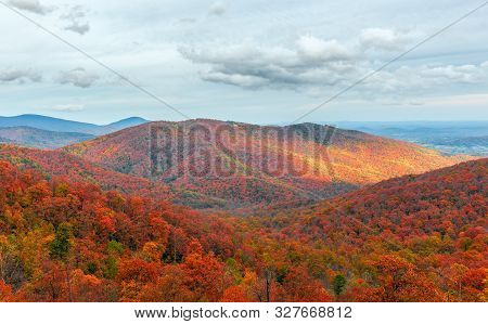 Colorful Autumn View Of Blue Ridge Mountain Ridges From Skyline Drive In Shenandoah National Park. V