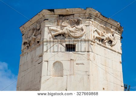 Tower Of The Winds Or The Horologion Of Andronikos Kyrrhestes An Octagonal Pentelic Marble Clocktowe