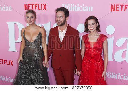 NEW YORK-SEPT 26: (L-R) Julia Schlaepfer, Ben Platt and Zoey Deutch attend Netflix's