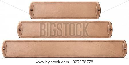 Bronze or copper metal plates set isolated with clipping path included