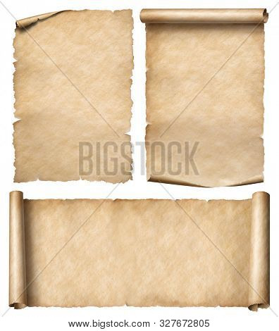Old paper or parchment scrolls set isolated