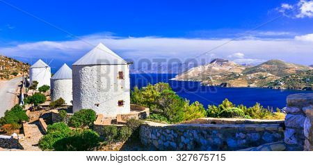 Amazing traditional Greece - beautiful Leros island, view with old windmills. Dodecanese