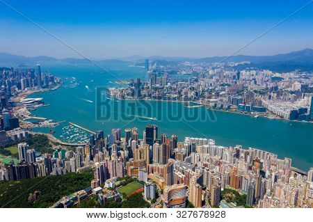 Hong Kong, 06 September 2019: Top view of Hong Kong landmark