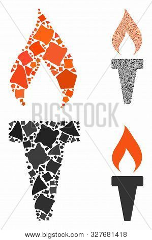 Fire Torch Mosaic Of Uneven Items In Variable Sizes And Color Hues, Based On Fire Torch Icon. Vector
