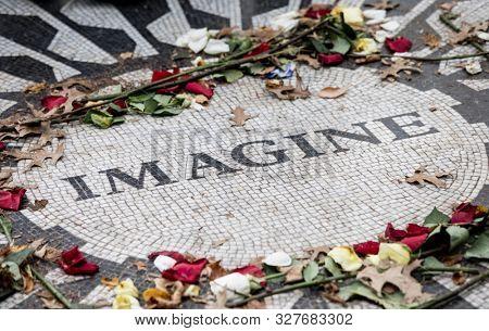 Strawberry Fields, John Lennon memorial mosaic in New York City.