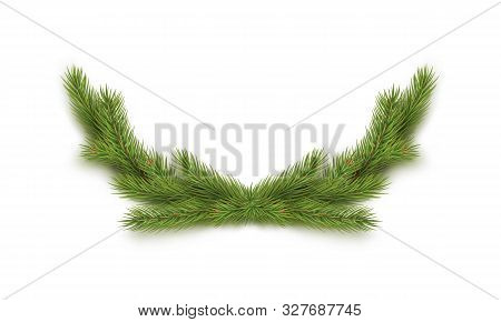 Christmas Decoration With Fir Tree Branches Isolated On White Background. Merry Christmas And Happy
