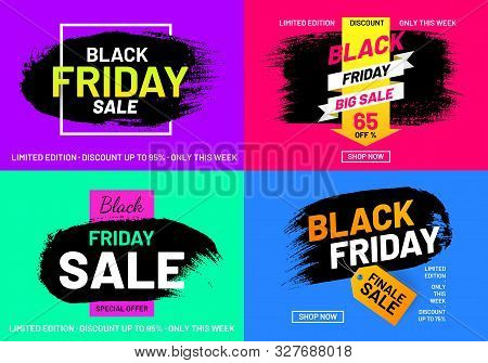 Black Friday Sale Promotion Posters Set. Weekend Discount Proposition. Internet Advertising Layouts.