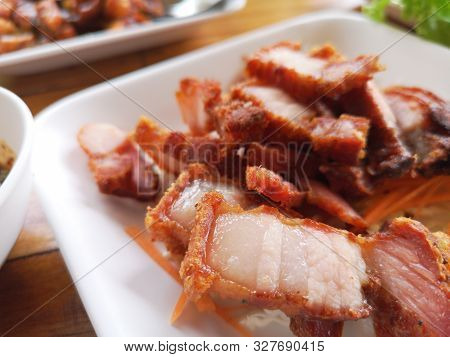 Streaky Pork Fried With Fish Sauce Served With Vegetable, Good Taste, Ketogenic Food Concept.