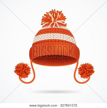 Realistic 3d Detailed Winter Red Knitted Hat With A Pompom. Vector Illustration Of Seasonal Traditio