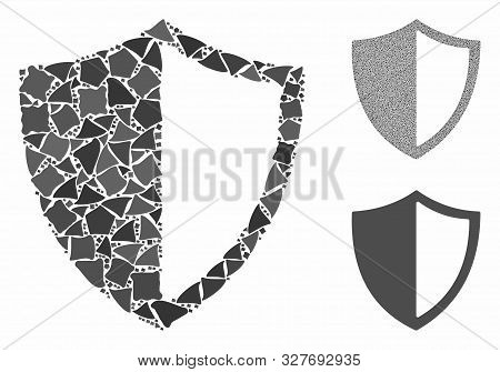Shield composition of abrupt parts in different sizes and shades, based on shield icon. Vector unequal parts are grouped into mosaic. Shield icons collage with dotted pattern. poster