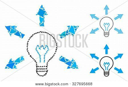 Idea bulb composition of unequal parts in various sizes and shades, based on idea bulb icon. Vector irregular parts are combined into composition. Idea bulb icons collage with dotted pattern. poster