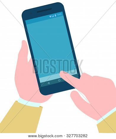 User With Phone In Hands, Isolated Gadget Smartphone Device With Blue Screen Touchscreen Of Mobile P