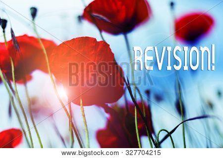 Writing note showing Revision. Business photo showcasing action of revising over someone like auditing or accounting Front view summer red color poppy flowers sky background. poster