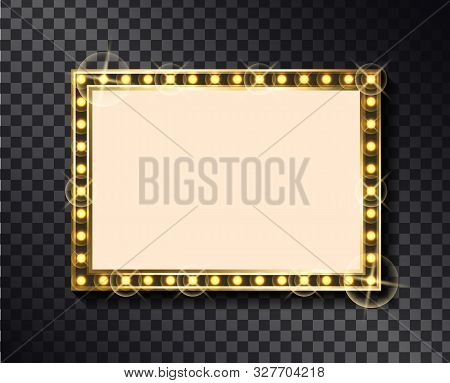 Rectangular Glittering Frame With Neon Light Bulbs Isolated On Transparent Background. Vector Right-