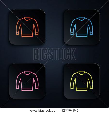 Color Neon Line Sweater Icon Isolated On White Background. Pullover Icon. Set Icons In Colorful Squa