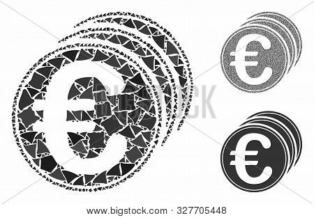 Euro coins mosaic of joggly parts in various sizes and color hues, based on Euro coins icon. Vector joggly parts are united into collage. Euro coins icons collage with dotted pattern. poster
