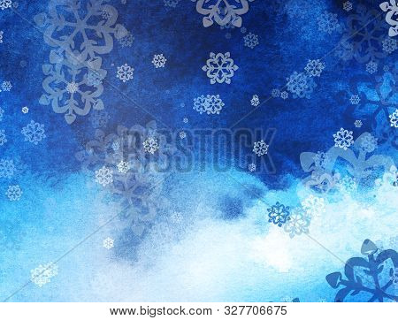 Winter Abstract Background With Snowflakes. Christmas Mood. Gradient From Light To Dark. Christmas B