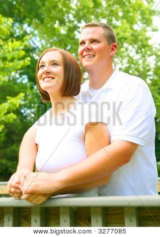 Young Caucasian Couple Enjoying Outdoor
