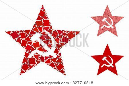Communism Star Composition Of Irregular Elements In Different Sizes And Color Tones, Based On Commun