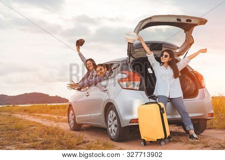 Happy Asian Group Of Friends Car Travel Driving And Suitcase At Mountain Lake River In Vacation Summ