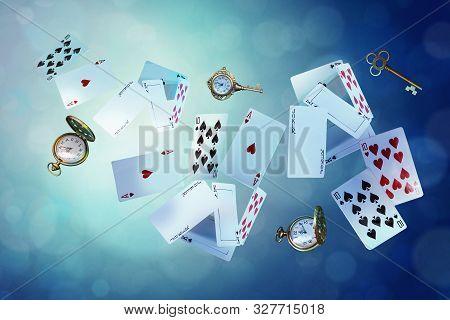 Wonderland Background. Playing Cards, Pocket Watch, Key,  Falling Down The Rabbit Hole. Horizontal B