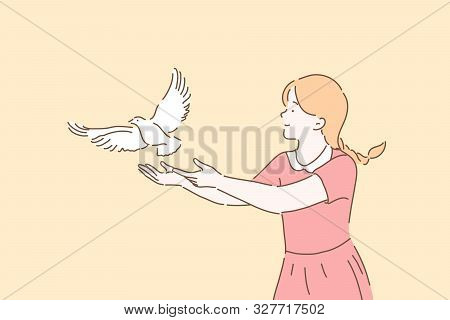 Peace Symbol, Freedom Metaphor Concept. Girl Letting Go White Dove, Cute Kid Setting Free Pigeon Wit