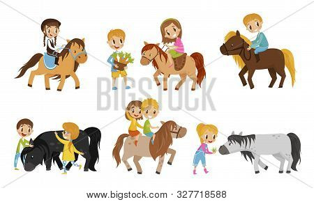 Small Kid Characters Petting The Horse Vector Illustrations