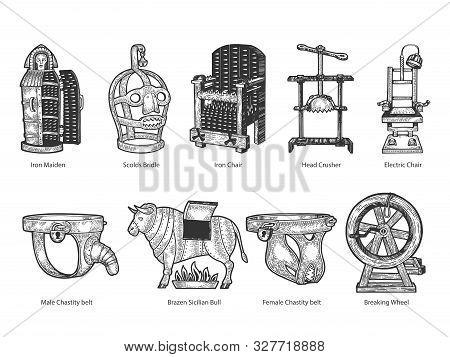 Medieval Torture Device Set With Titles Sketch Engraving Vector Illustration. T-shirt Apparel Print