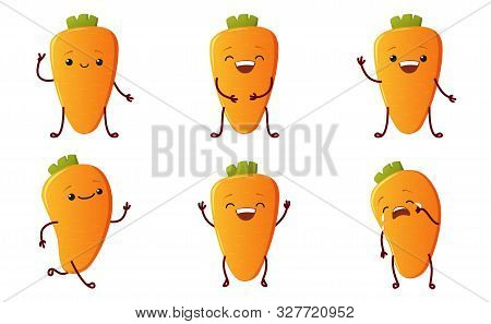 Set Cute Carrot Characters. Kawaii Vegetable Vector Characters Isolated On White Background