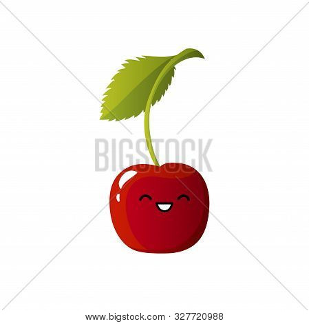 Cute Cherry Character. Kawaii Berry Vector Character Isolated On White Background