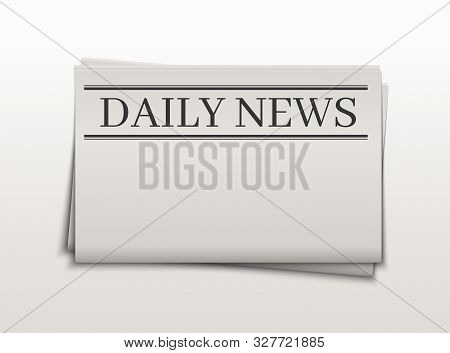 Blank Newspaper Template. Daily News Folded Paper Page. Tabloid Mockup Template