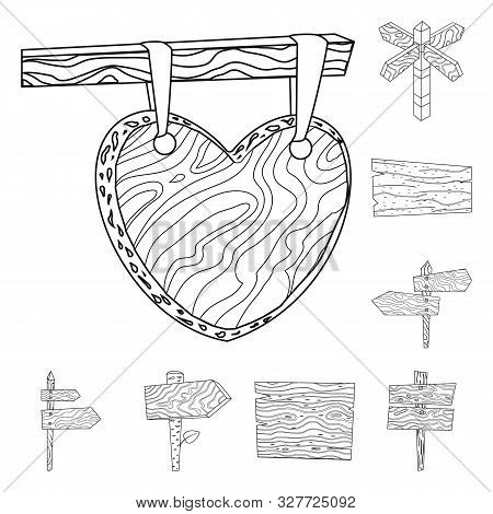 Vector Illustration Of Hardwood And Material Logo. Set Of Hardwood And Wood Stock Symbol For Web.