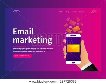 Mobile E-mail Notification Concept. Email Marketing. Communication, Information Dissemination, Sendi